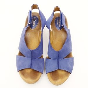Clark's Artisan Cork wedge blue leather sandals